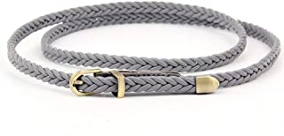 SGJFZD New Hand-Woven Belt Fashionable Female Pin Buckle Retro Casual Wild Thin Belt Waist Rope Decoration (Color : Grey, Size : 103cm(Without Buckle))