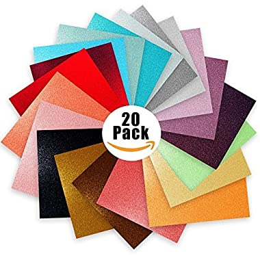 Glitter Vinyl Self Adhesive Vinyl Sheets 6  x 6  | Cricut Silhouette Cameo Craft Cutters | 20 Pack Assortment Craft Vinyl | Stick to Glass, Plastic, Metal & More | Use Our High-Tack Transfer Paper