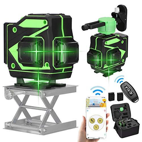 Kecheer Nivel láser autonivelante 12 líneas Blue-tooth con 2 baterías,Nivelador laser 360º 3D pared verde,Niveles láser vertical horizontal autonivelación