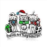 Cosanter Broche de Gato de navidad, Accesorios de Ropa Sombrero Suéter Bufanda Decoración Halloween Regalo (Plateado) 4,3 x 3,4 cm