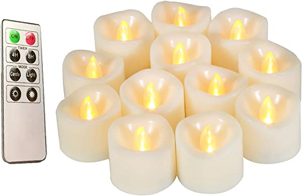 Flameless Candles Realistic Flickering Votive Candle Tea Light Battery Operated 200 Hours Of Nonstop Working With Remote And 4 8 Hours Timer Set Of 12 LED Candle By Erosway White