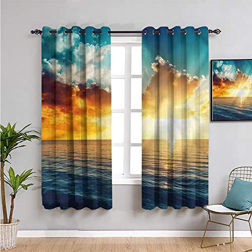 Xlcsomf Cortinas oceánicas para dormitorio, cortinas de 182,88 cm de largo majestuoso atardecer sobre el mar habitación oscurecida de 163 cm de ancho x 182,88 cm de largo