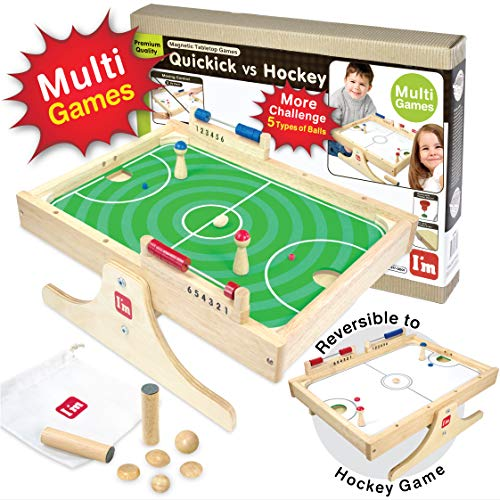 Quickick: Magnetic Multi Tabletop Football VS Hockey Wooden Board Games for Kids and Family
