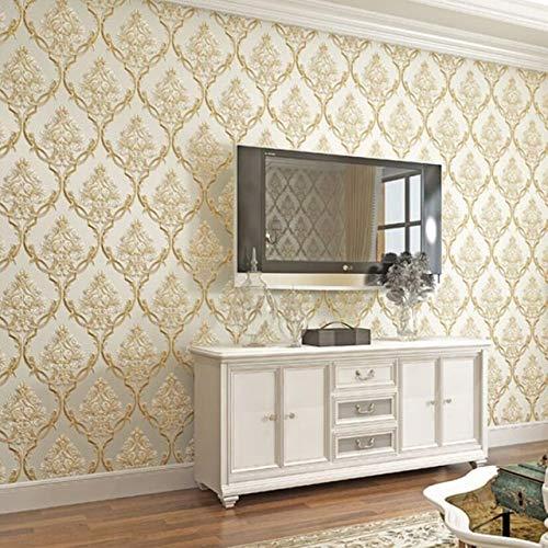 Papel pintado de lujo clásico europeo para decorar la pared de la sala de estar, decoración vintage floral en relieve, no tejido a rayas (color: beige floral, tamaño: 0,53 x 9,5 m)