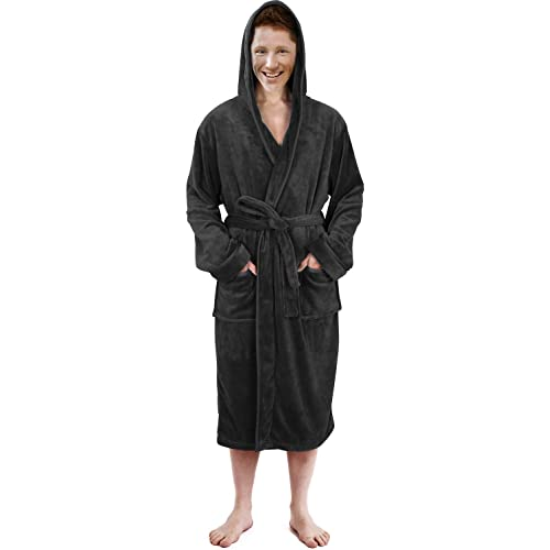 NY Threads Hooded Bathrobe Mens Luxurious Fleece Shawl Collar Robe a8557f233