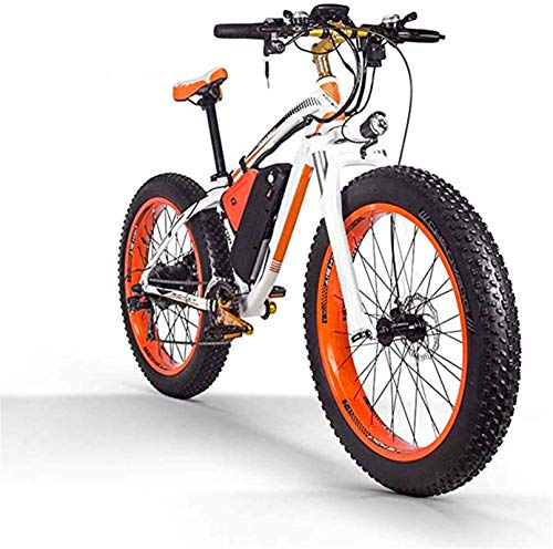 Bicicleta eléctrica de nieve, 1000W Montaña bicicleta eléctrica 26 pulgadas 48V16AH Fat Tire Bicicleta eléctrica / 27 Velocidad de nieve bicicletas, faros LED, varón adulto Off-Road de bicicletas de m