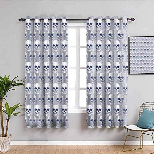 Nileco Cortinas de Opacas - Azul calavera línea arte - 280x200 cm - 3D Impresión Digital con Ojales Aislamiento Térmico - para Sala Cuarto Comedor Salon Cocina Habitación