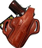 HOLSTERMART USA TAGUA Right Hand Brown Leather Thumb Break OWB Belt Holster for Nonrail 4' 1911, Colt Kimber Springfield S&W Ruger RIA Taurus, etc.