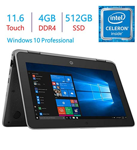 HP Business ProBook x360 11 G3 EE 11.6-inch Touchscreen 2-in-1 Laptop PC, Intel Quad Core Celeron N4100 Up to 2.4GHz, 4GB RAM SDRAM 512GB SSD, USB Type C, HDMI, Webcam, Bluetooth, Windows 10 Pro