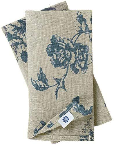 Linen & Cotton Hochwertige Vintage 4 x Stoffservietten Servietten Stoff Leinenservietten Flores mit Blumen Motiv - 100% Leinen, Beige Blau (43 x 43 cm) für Home Küche Esszimmer Dekoration