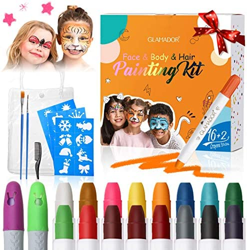 Face Paint Crayon Kits for Kids Adult GLAMADOR 16 Colors Body Painting Sticks Water Based Makeup product image