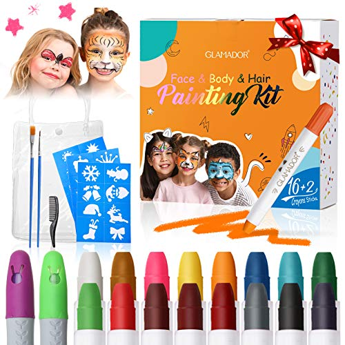 Face Paint Crayon Kits for Kids Adult, GLAMADOR 16 Colors Body Painting Sticks, Water-Based Makeup Crayons Set Fits Easter Halloween Party Cosplay Birthday Carnivals, with 2 Hair Chalk(Green & Purple)