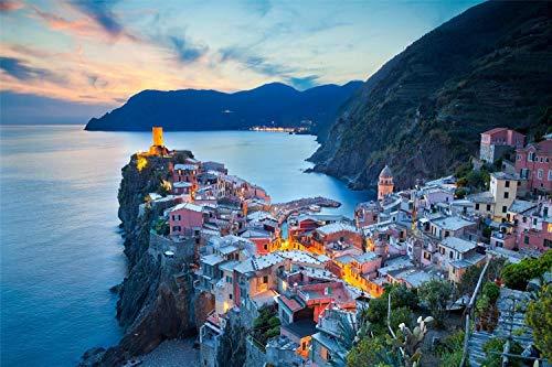YKJPD Puzzle da 1000 Pezzi, Cinque Terre, Costa Ligure, per Bambini E Adulti Gioco di Puzzle di Assemblaggio Personalizzato in Legno