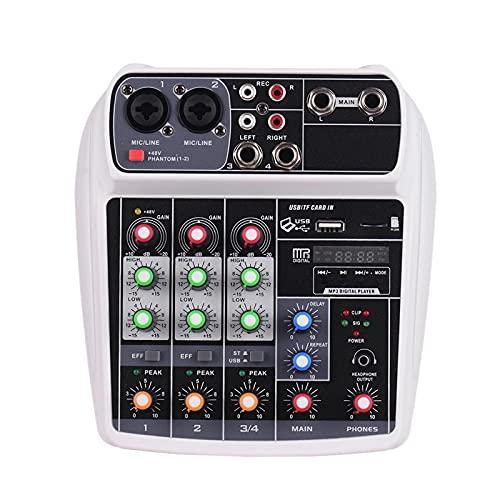 Mezclador de audio para tarjetas de sonido, mezclador digital de audio de 4 canales BT MP3 entrada USB + potencia fantasma de 48 V Fácil de monitorear y de manejo (color: blanco, tamaño: único)