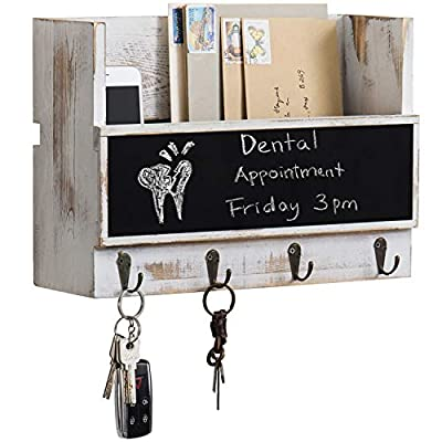 White Rustic Wall Mounted Mail Holder with Chalkboard