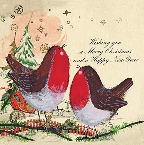 Alex Clark Vintage Robins Kerstkaart Vogel Afbeelding