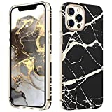 MATEPROX Marmo Design Cover per iPhone 12 PRO/iPhone 12 Custodia, TPU+PC Duro Posteriore Cover, Glitter Marmo Protettiva Cover per iPhone 12 PRO/iPhone 12 6.1'' 2020-Nero Satinato