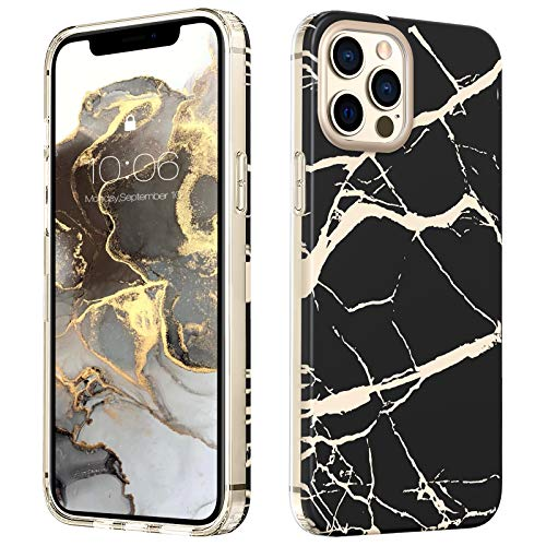 MATEPROX Marmo Design Cover per iPhone 12 PRO Max Custodia, TPU Paraurti+PC Duro Posteriore Cover, Glitter Marmo Protettiva Custodia Cover per iPhone 12 PRO Max 6.7'' 2020-Nero Satinato