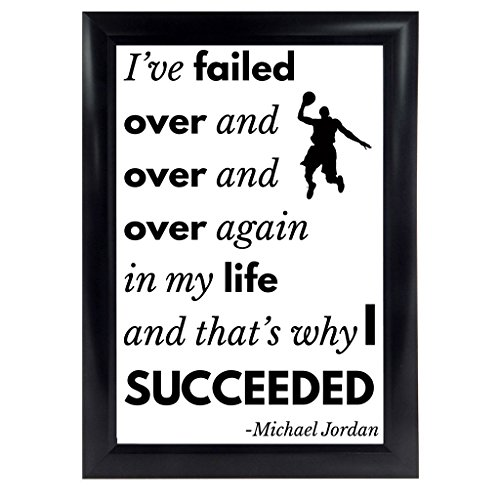 """Michael Jordan Quote Poster from """"I've Missed More Than 9000 Shots"""" MJ 23 Inspirational Quote Motivation Wall Art Decor Print Success Quotes for Office Room Basketball Gifts. (11X17, Unframed)"""