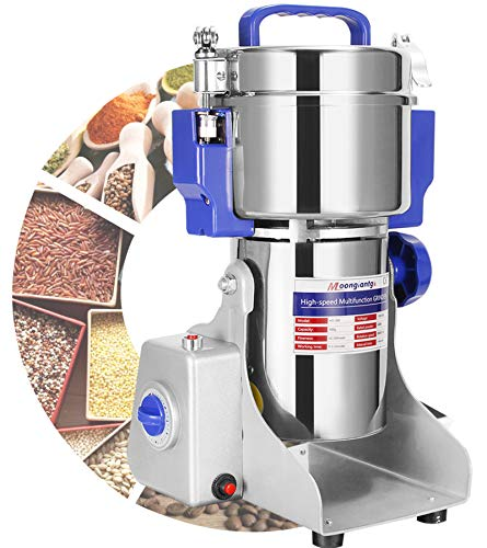 Moongiantgo 800g/1.76lb Electric Grain Grinder Mill Herb Spice Grinder 50-300 Mesh Powder Machine Stainless Steel Pulverizer Dried Materials Grinding Machine for Cereal Grains Spices Herbs (800g Swing Type)