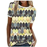 Routinfly Camisetas de mujer de manga corta para mujer, camiseta para verano, camiseta deportiva para mujer, camiseta de manga corta, cuello redondo, suelto