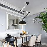 AXFALO Lámpara colgante retro con altura regulable, estilo nórdico, para mesa de comedor, extensible, E27, redonda, pantalla de metal, para cocina, oficina, salón, comedor, color negro