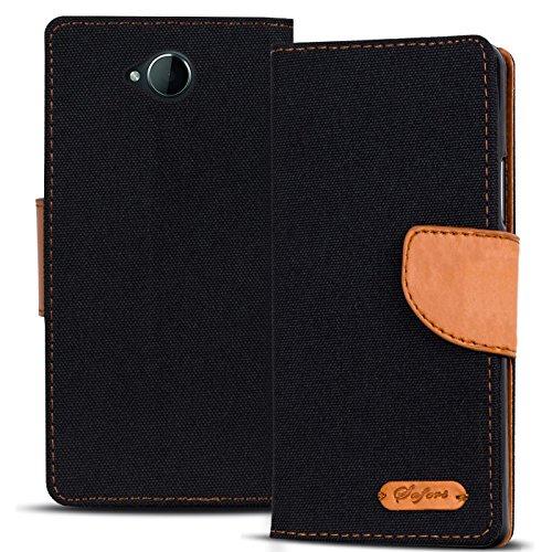 Conie Hülle für Microsoft Lumia 650 Tasche Textil Bookstyle Schwarz, PU Leder Hülle Stoff Style Schwarz, Handyhülle Lumia 650 Flip Case Wallet, Booklet Cover Etui, für Microsoft Lumia 650 (5.0')