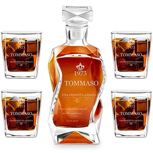 Murrano Set Decanter per Whisky in vetro - da 700 ml - incisione personalizzata - Caraffa con 4 bicchieri - idea regalo per il compleanno - per l' uomo
