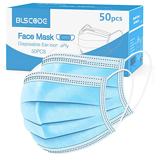 BLScode Disposable Face Protective Masks, 3-Layer Facial Cover Masks with Elastic Ear Loops, Comfortable Universal Design for Adults & Teenager, Suitable for Back to School, Office, Outdoor (Pack of 50)