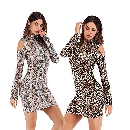 Señoras Vestido Atractivo del Collar del Soporte del Estampado Leopardo de Largo sin Tirantes Filtro de la...