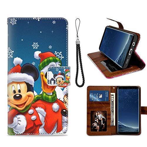 DISNEY COLLECTION Funda tipo cartera para Samsung Galaxy S8 con diseño de Mickey Mouse con diseño de patrón de tarjeta de crédito, cierre magnético, función atril