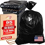 95-96 gallon trash bags 50 Pk Large Garbage Can Liners 61x68' Contractor Garbage Bags 1.2Mil 100 Gallon Trash Bags Heavy Duty Construction Garbage Bag