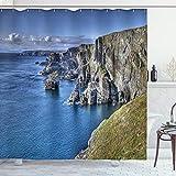 Ambesonne Coastal Shower Curtain, Atlantic Coast Cliffs at Mizen Head County Cork Ireland Ocean Coastal Scenery, Cloth Fabric Bathroom Decor Set with Hooks, 70' Long, Taupe Green