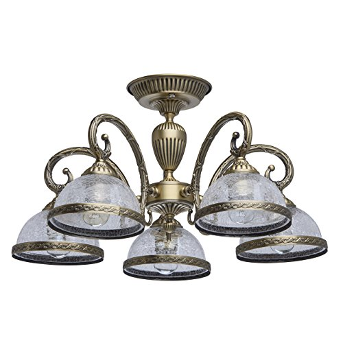 MW-Light 481011805 Deckenlampe Klassisch Messing Antike Bronze Metall Matt Glasschirm Eis 5 Flammig E27 x 60W
