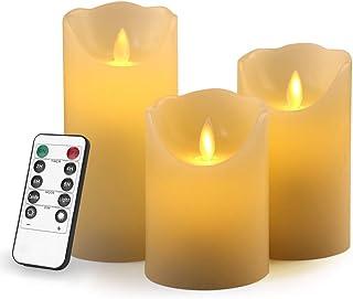 LED キャンドルライト LEDキャンドル 3本セット キャンドルライト 癒しの灯り 揺らぐ炎 波形の口 無香料 飾りライト インテリアライト クリスマス/パーティー/結婚式/部屋 室内・室外飾り リモコン付き