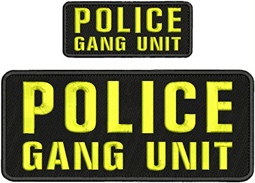 Police Gang Unit Embroidery PATC 4X10 & 2X5 Hook ON Back BLK/Yellow