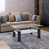 Tempered Glass Coffee Table, Rectangle Modern Side Center Tables for Living Room -Black Walnut
