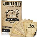 120 fogli di carta vecchia, vintage DIN A4 stampabile - certificati carte tesoro carta artigianale, carta cartone - artigianato per carte, matrimonio, cavalieri di compleanno e pirati luminoso
