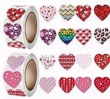 Adesivi a forma di cuore, 1000 pezzi, per San Valentino, adesivi per matrimonio, Natale e regalo per fidanzamento, anniversario di matrimonio