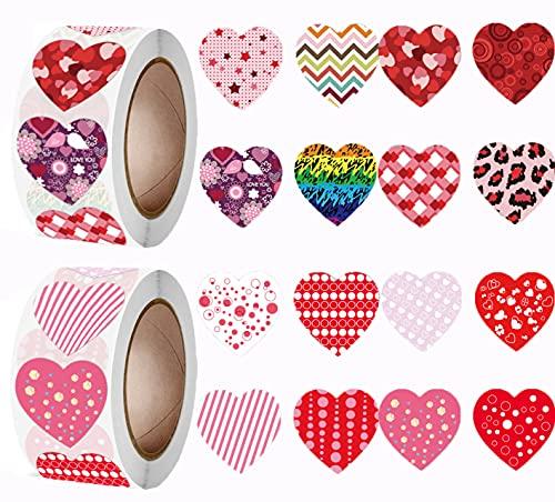 1000pcs Pegatinas Corazones San Valentín Para Bodas, Sello de Sobres,Adhesivas Stickers Decoración...