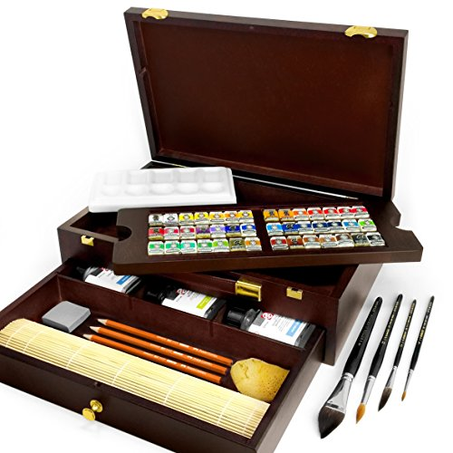 Royal Talens - Rembrandt Water Colour Box - 'Master' Edition in Wooden Chest - With Paints, Mixing Tray, and Brushes