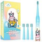Elektrische Zahnbürste Kinder Wiederaufladbare, Ultraschall kinderzahnbürste mit Timer mit Schalltechnologie für Jungen und Mädchen (Blaues Einhorn)