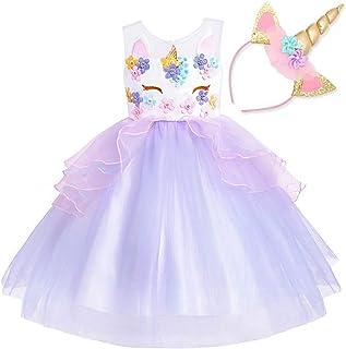 3f5892e80fc01 NNDOLL Fille Licorne Volants Fleurs Robe De Fête Cosplay Robe De Princesse  De Mariage