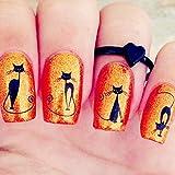 MEIYY Pegatina De Uñas 1 Hoja Black Cat Nail Art Water Decals Transfers Sticker Pretty Pattern Watermark Nail Art Decoration # 16035