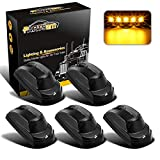 Partsam 264343BK Smoke Cab Light Amber LED Cab Marker Roof Running Top Clearance Lights Assembly Compatible with Ford F-250 F-350 F-450 F-550 Super Duty 2017-2021 (Pack of 5)