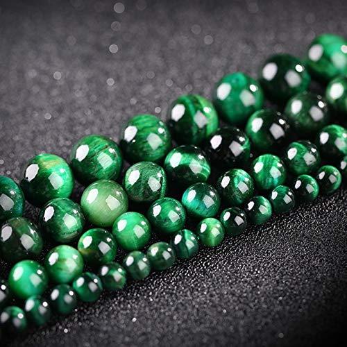 PrittUHU 2020 Cuentas Redondas de Piedra Verde Strand para Hombre Wonem Jewelry Haciendo Perlas de Piedra Natural DIY Pulsera Collar Perlas Sueltas (Color : Green Color, Item Diameter : 10mm18pcs)