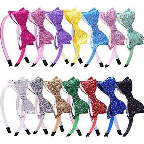 SIQUK 14 Pieces Glitter Bow Headband Teeth Plastic Headbands with Shiny Bow for Girls(Bonus: 1 Pc Storage Bag)