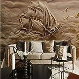 Papel Pintado Fotográfico 450x300 cm - 9 tiras Velero tridimensional Tipo Fleece no-trenzado XXL Salón Dormitorio Despacho Pasillo Decoración murales decoración de paredes moderna