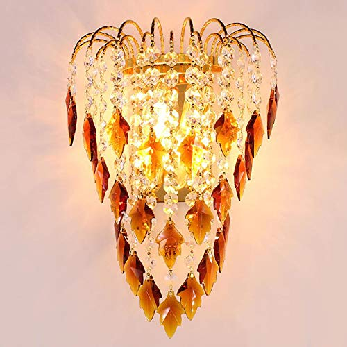 Lámpara de Cabecera de Cristal, Lámpara de pared de Cristal LED E14 para Sala de estar Comedor Dormitorio, Lámpara de pared Frontal con Espejo Simple y Moderna Lámpara de Pasillo,B