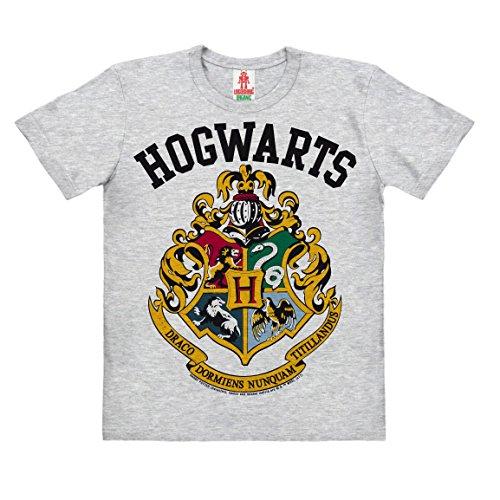 Logoshirt Harry Potter - Wappen - Hogwarts Logo - Kinder Organic T-Shirt - grau-meliert - Bio Baumwolle - Lizenziertes Originaldesign, Größe 152
